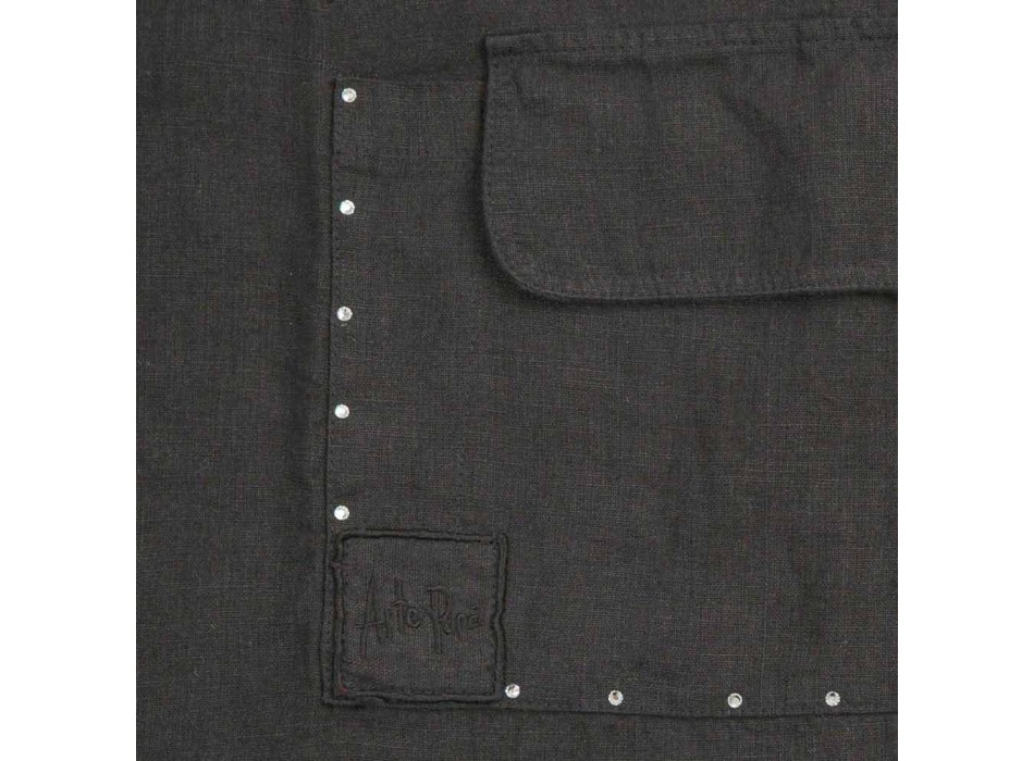 Black Linen Kitchen Apron with Crystals Low Model with Pocket - Click