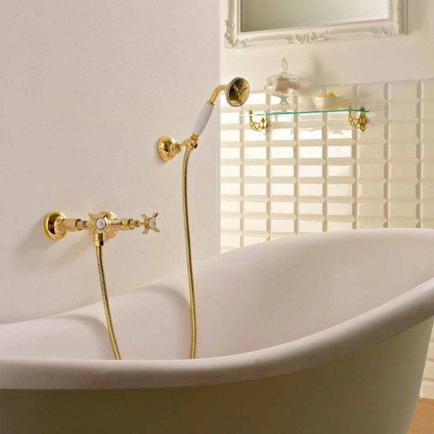 Vintage Design Brass Outdoor Shower Group Made in Italy - Katerina