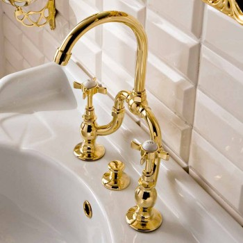 Vintage Design Bridge Washbasin Group in Brass Made in Italy - Katerina