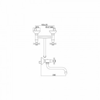 Adjustable Brass Wall Kitchen Washbasin Group Made in Italy - Colmo