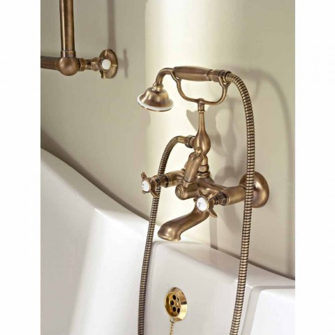 Classic Style External Bathtub Group in Brass and Butterfly Handles - Miriano