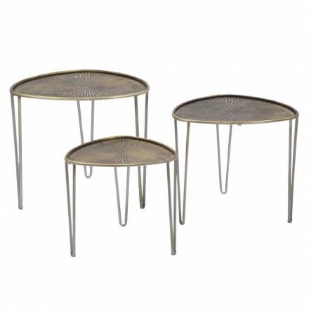 Set of 3 Modern Design Iron Coffee Tables - Marla