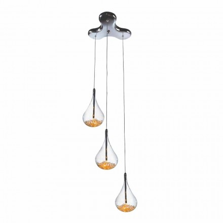 Suspension Lamp with 3 or 4 Lights in Borosilicate Glass and Metal - Pears