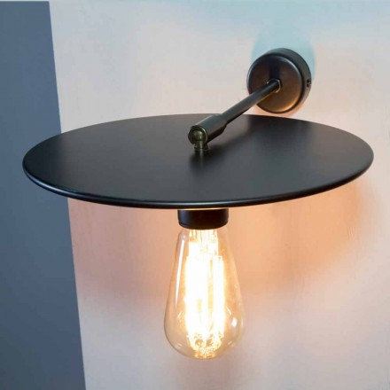 Handcrafted Wall Lamp in Black Iron or Corten Finish Made in Italy - Ufo