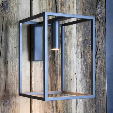 Outdoor Wall Lamp in Iron and Aluminum with LED Made in Italy - Cubola