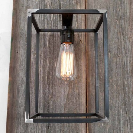 Handmade Wall Lamp with Black Iron Structure Made in Italy - Cubola