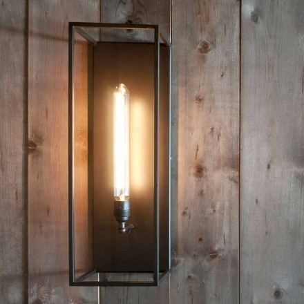 Handcrafted Wall Lamp with Black Iron Structure Made in Italy - Brina