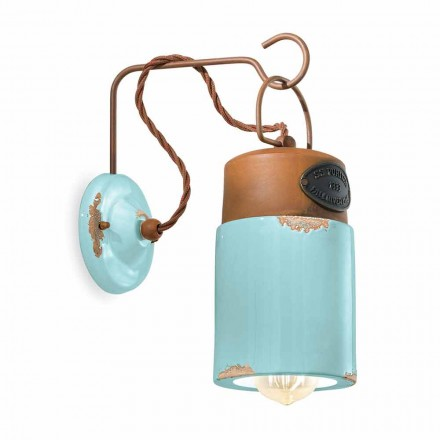 Wall lamp in ceramic and rust iron Desiree by Ferroluce
