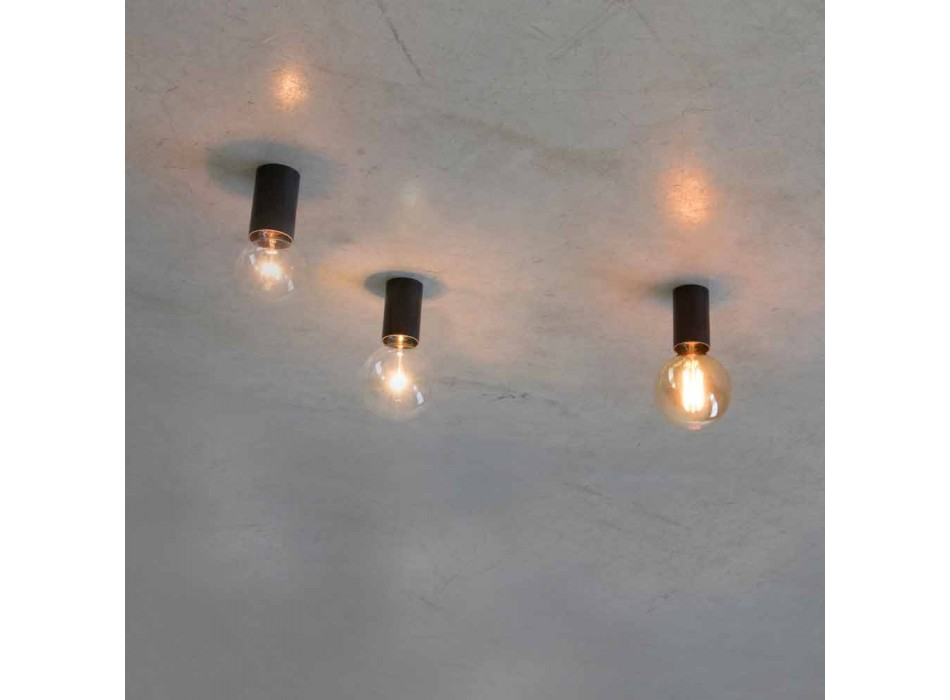 Artisan Ceiling Lamp with Black Iron Structure Made in Italy - Frana