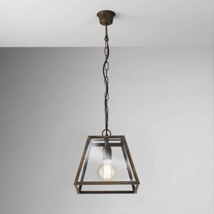 Industrial style glass and iron pendant light London Il Fanale