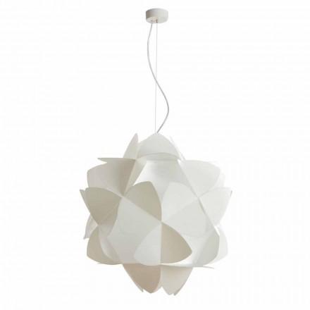 3-bulb modern pendant lamp Kaly, pearl white finish, 63 cm diam.