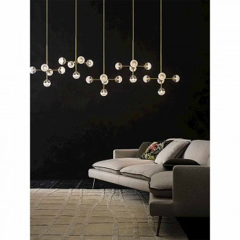5 Lights Suspension Lamp in Natural Brass and Glass - Molecola by Il Fanale