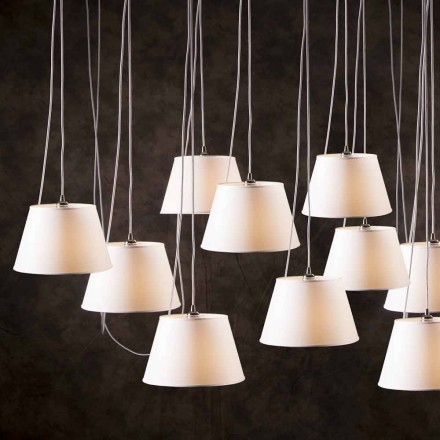 Contemporary 12-light pendant lamp Chrome, white lamp shade