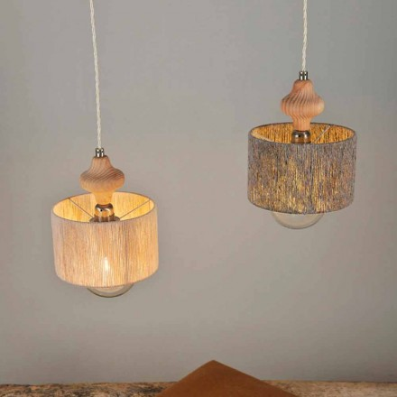 Modern 2-light pendant lamp with wooden element Bois