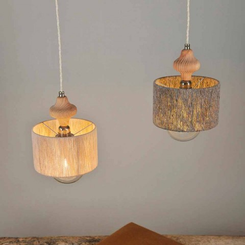 2 lights pendant lamp with Bois wood insert