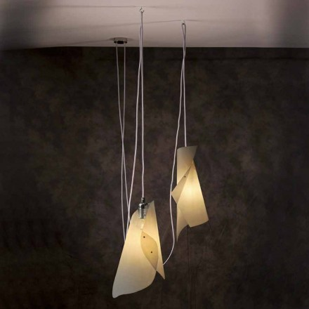 Pendant lamp with 2 lights, modern design, Chrome