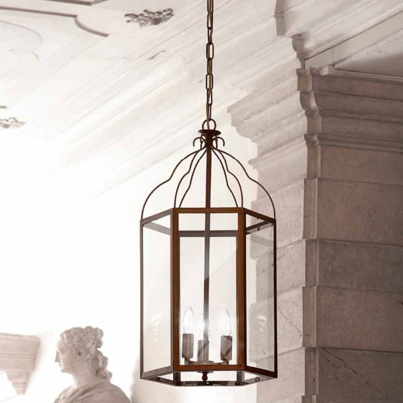 Pendant lamp with 3 lights brass and glass Turandot