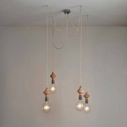 Modern design 4-light pendant light with wooden decoration Bois