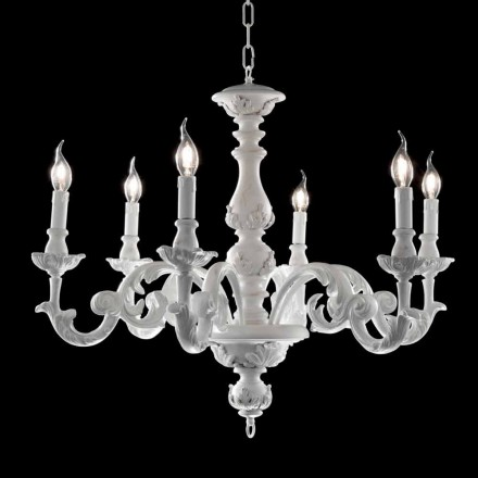 Classic design 6 lights chandelier made of white wood Lira