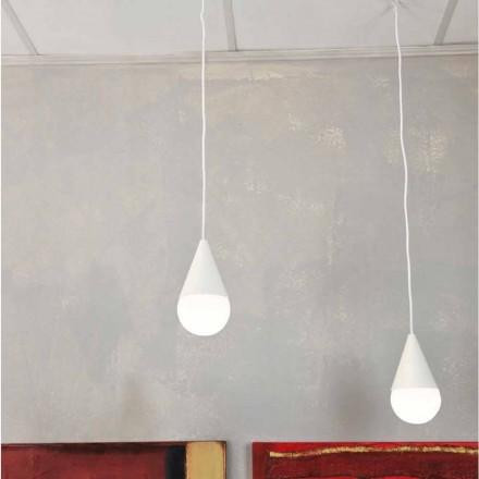 White pendant lamp with 2 lights Drop, modern design
