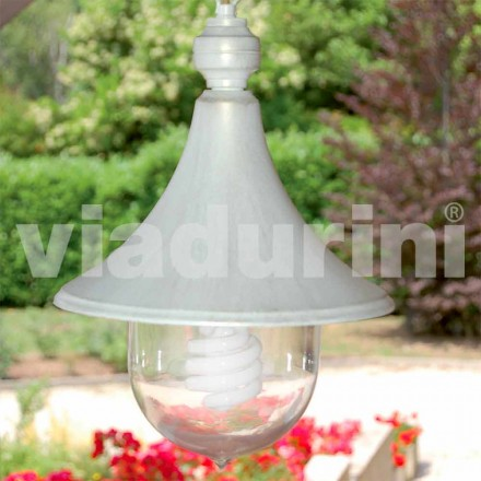 Outdoor pendant lamp made with white aluminum, made Italy,Anusca