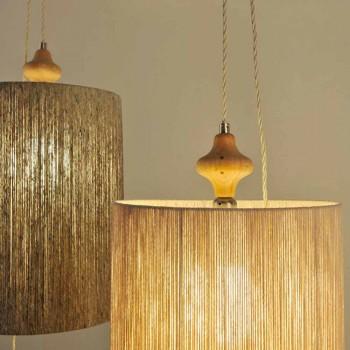 Pendant lamp / floor lamp in wood and 100% Bois wool