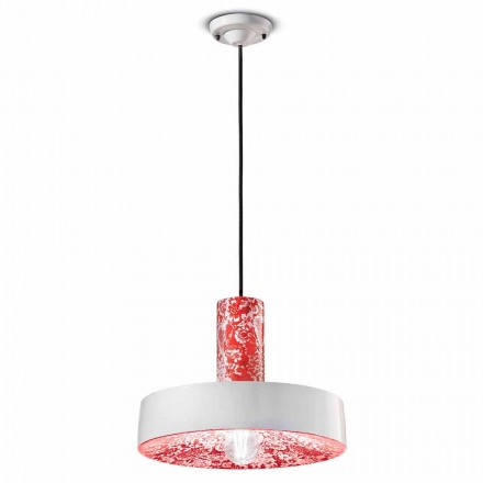 Retro Style Suspension Lamp in Colored Ceramic - Ferroluce Pi