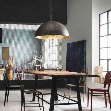 Rustic style iron or brass pendant lamp Galileo Ø60 Il Fanale