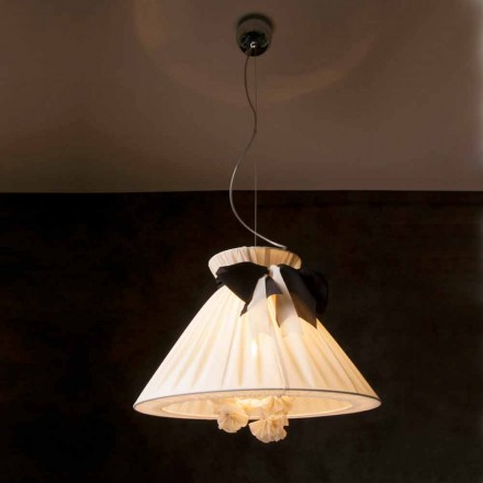 Vintage design pendant lamp in Chanel silk