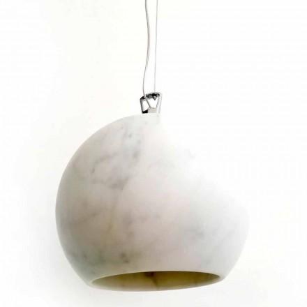 Design Suspension Lamp in White Carrara Marble Made in Italy - Panda