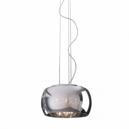 Modern Design Suspension Lamp in Glass and Chromed Metal - Cambria