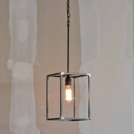 Handmade Iron Pendant Lamp with Chain Made in Italy - Cubola
