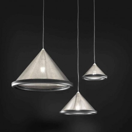 Suspension Lamp in Stainless Steel and Ceramics - Tamiso Aldo Bernardi