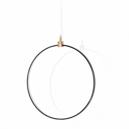 Suspension Lamp in Black Aluminum and Natural Brass Made in Italy - Norma