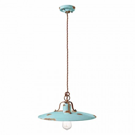 Country pendant lamp in ceramic and metal Emily by Ferroluce