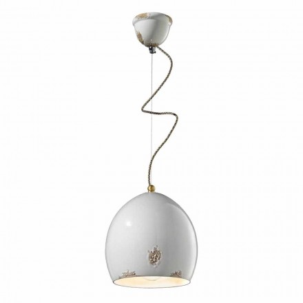 Retro design ceramic pendant lamp made in Italy by Ferroluce