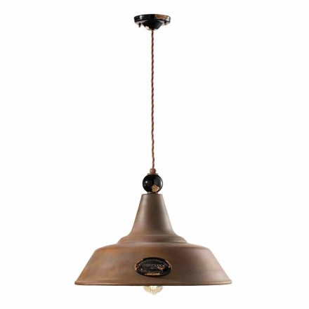 Pendant lamp in corten iron and ceramics Lois by Ferroluce