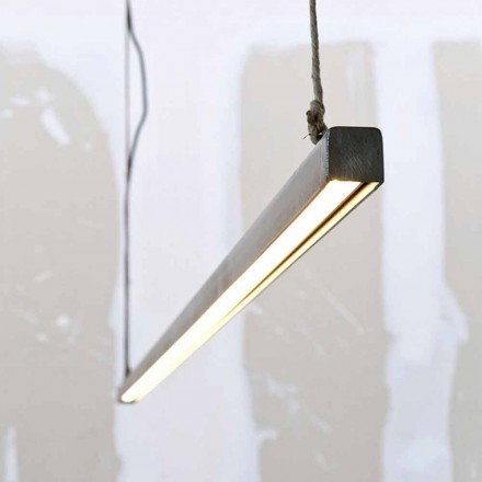 Suspension Lamp in Iron and Rope with Integrated LED Made in Italy - Stecca