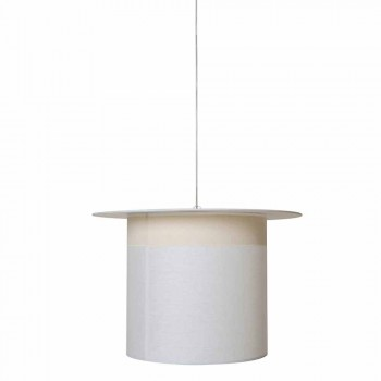 Cylinder Design White Linen Suspension Lamp, Made in Italy - Magic