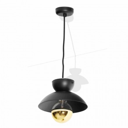 Metal Suspension Lamp with Modern Gold Detail Made in Italy - Valta