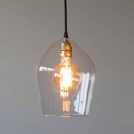 Suspension Lamp in Glass and Iron with Cotton Cable Made in Italy - Bisma