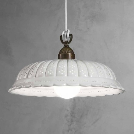 White ceramic pendant lamp Anita Il Fanale Ø42 cm,made in Italy