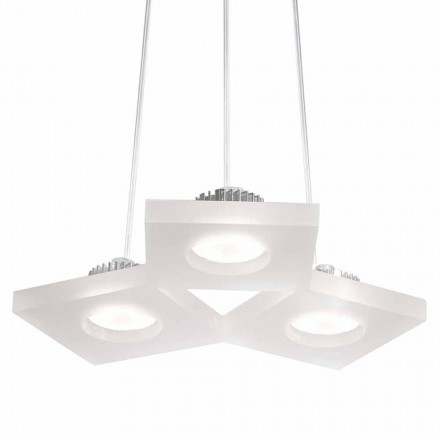 Modern design pendant lamp Nella, white satin methacrylate L27xW23 cm