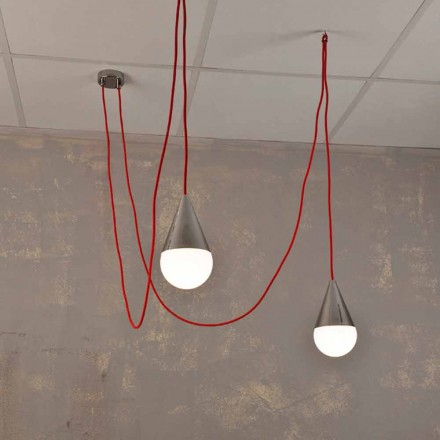 2-light pendant lamp Chrome, with red light cord