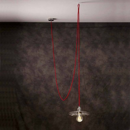 Modern pendant light with red silk light cord Chrome