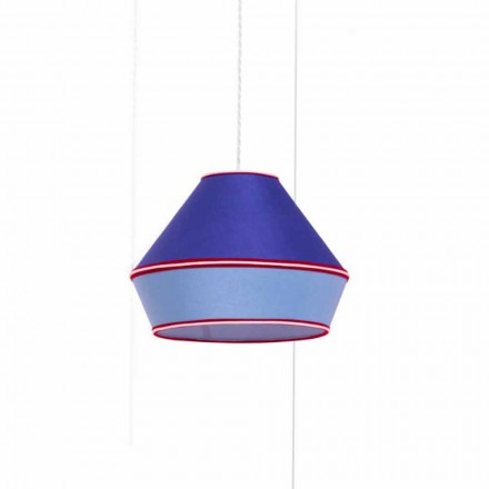 Modern Suspension Lamp with Blue Cotton Lampshade Made in Italy - Soya
