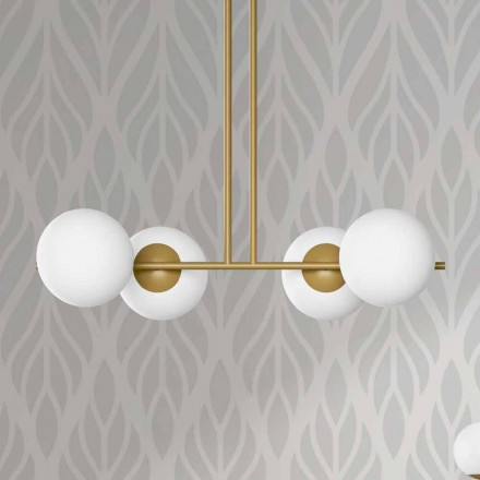 Modern Suspension Lamp in Metal and White Glass Made in Italy - Carima