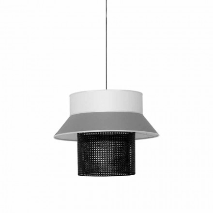 Modern Suspension Lamp in Fabric and Rattan Made in Italy - Sailor