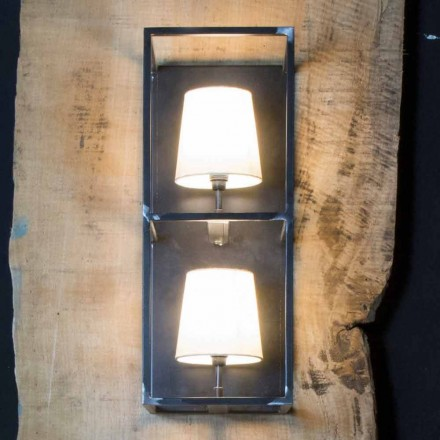 Artisan Wall Lamp in Black Iron with 2 Lampshades Made in Italy - Tower