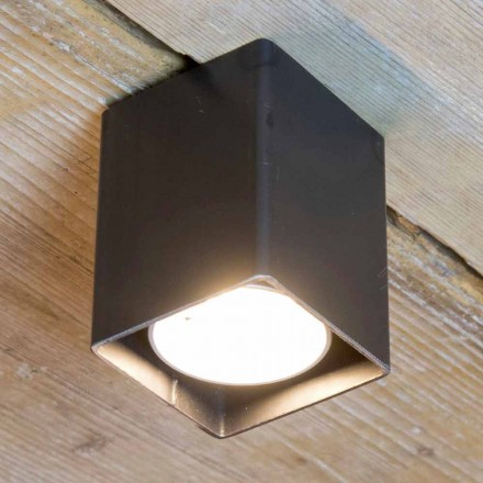 Artisan Lamp in Black Iron with Cubic Shape Made in Italy - Cubino